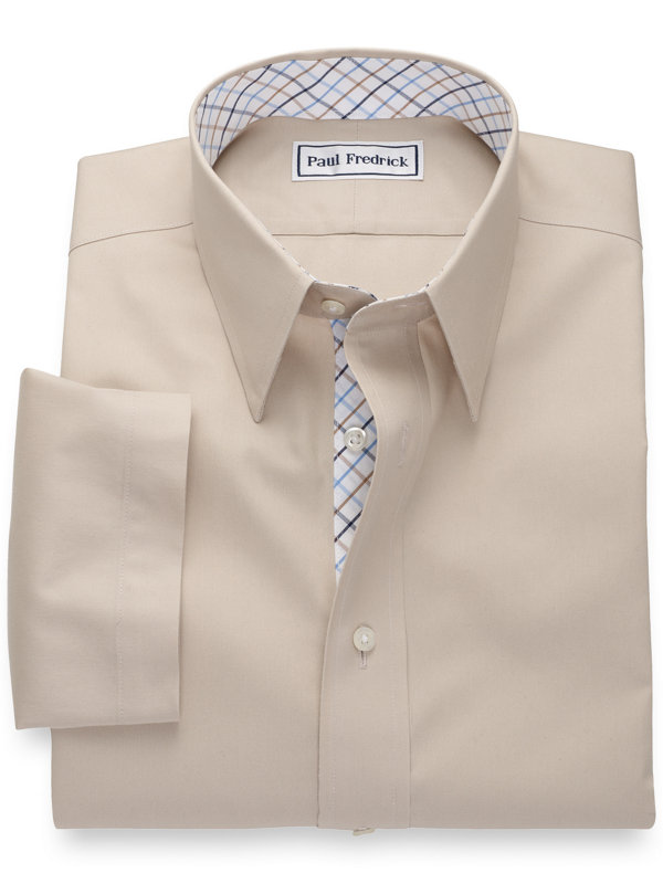 Non-Iron Cotton Pinpoint Solid Short Sleeve Shirt with Contrast Trim