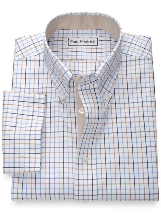 Non-Iron Cotton Tattersall Short Sleeve Shirt with Contrast Trim