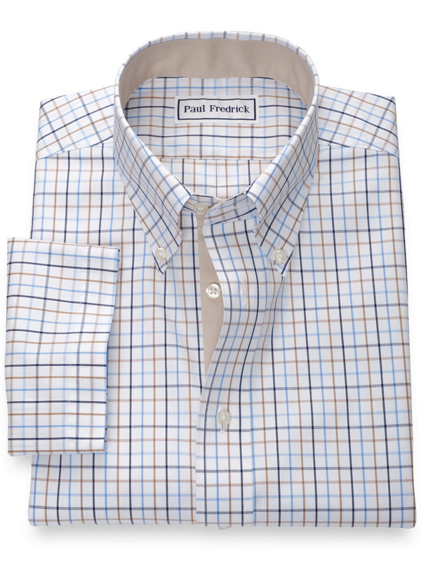 Slim Fit Non-Iron Cotton Tattersall Short Sleeve Shirt with Contrast Trim
