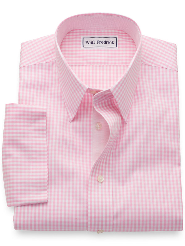 Slim Fit Non-Iron Cotton Pinpoint Gingham Short Sleeve Shirt with Contrast Trim