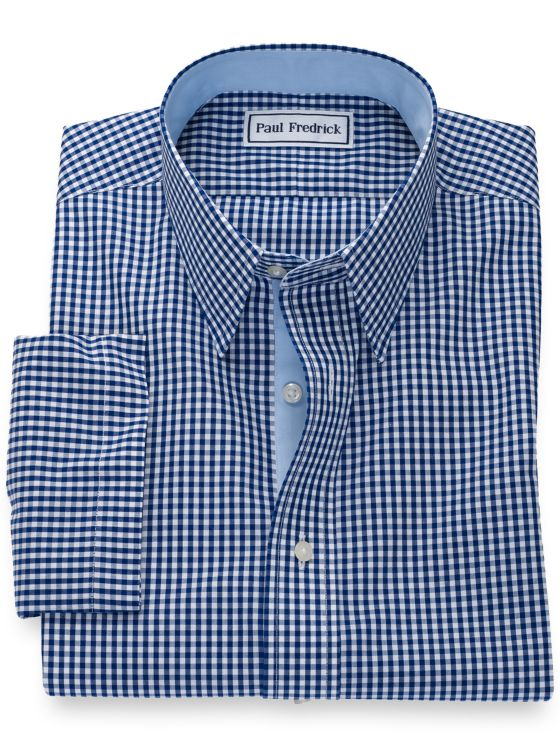 Non-Iron Cotton Gingham Short Sleeve Shirt with Contrast Trim