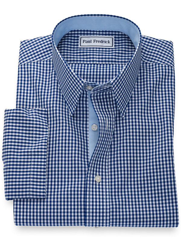 Slim Fit Non-Iron Cotton Gingham Short Sleeve Shirt with Contrast Trim
