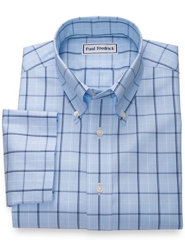Slim Fit Non-Iron Cotton Pinpoint Glen Plaid Short Sleeve Shirt