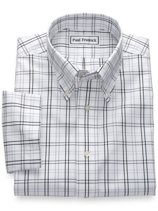 Slim Fit Non-Iron Cotton Pinpoint Tattersall Short Sleeve Shirt
