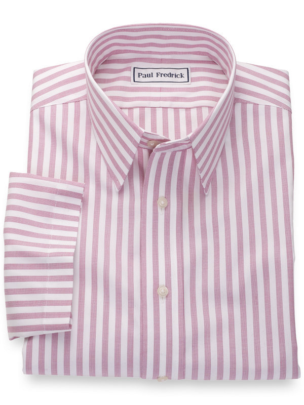Slim Fit Non-Iron Cotton Pinpoint Stripes Short Sleeve Shirt