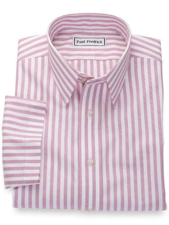 Slim Fit Non-Iron Cotton Pinpoint Stripes Short Sleeve Shirt