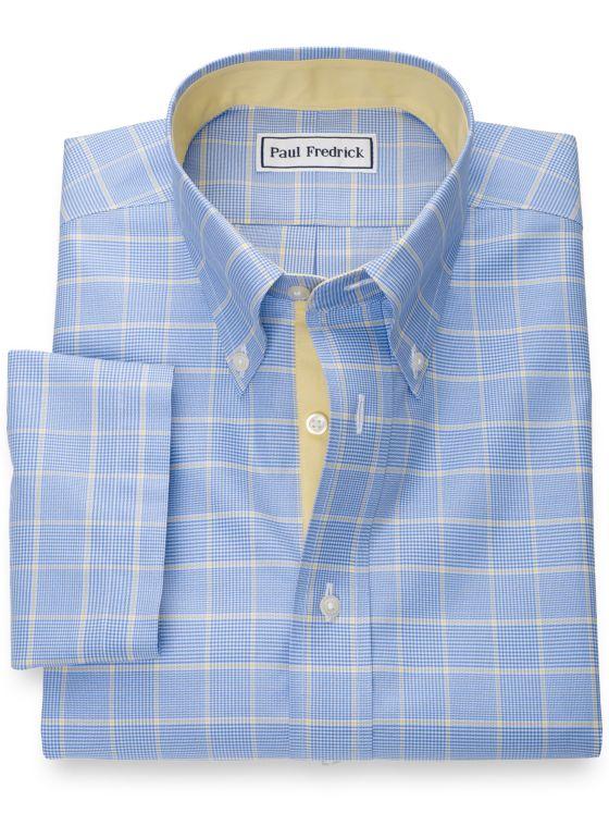 Slim Fit Non-Iron Pure Cotton Glen Plaid Short Sleeve Shirt with Contrast Trim