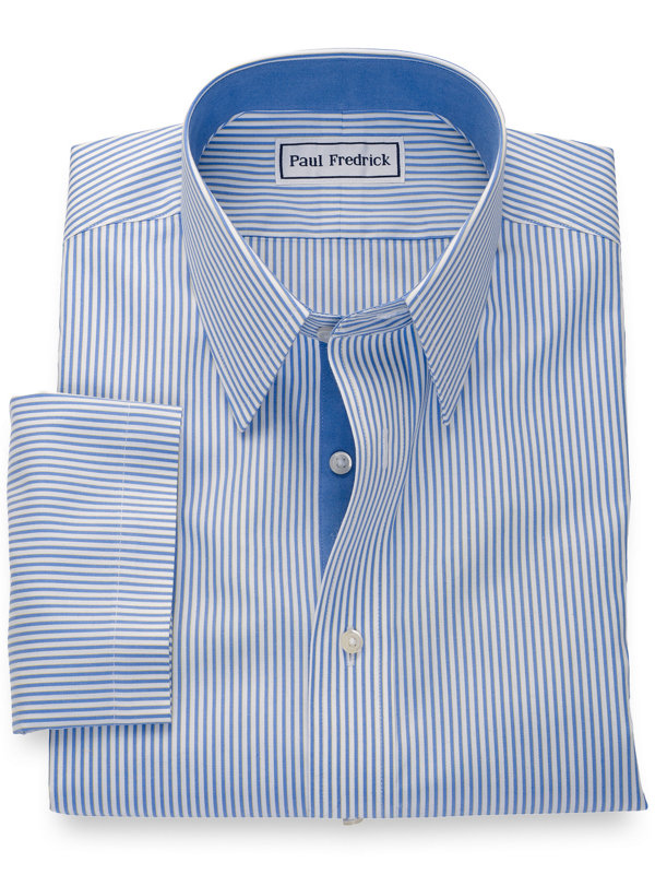 Slim Fit Non-Iron Pure Cotton Stripe Short Sleeve Shirt with Contrast Trim