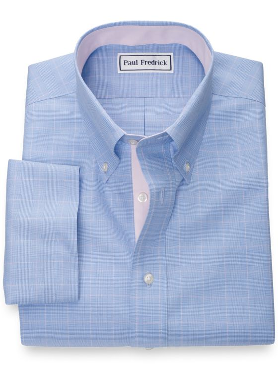 Slim Fit Non-Iron Cotton Glen Plaid Short Sleeve Shirt with Contrast Trim