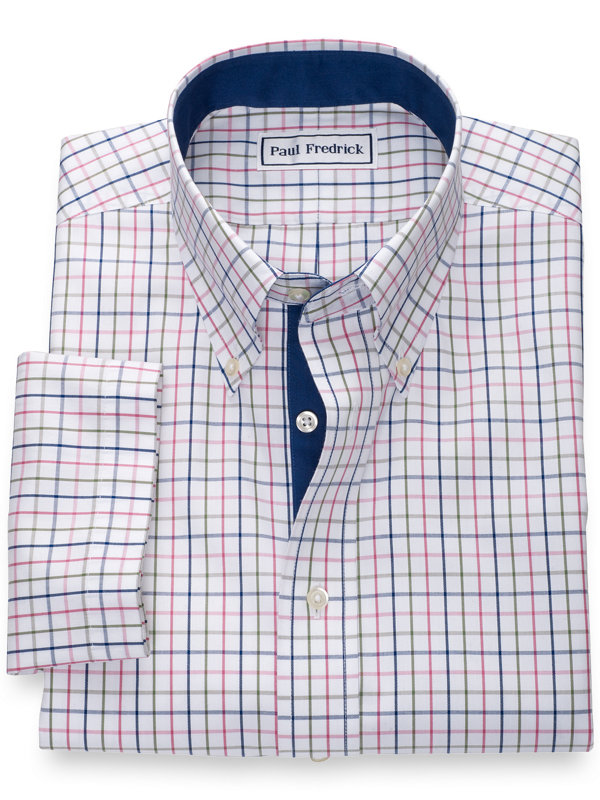Non-Iron Cotton Pinpoint Tattersall Short Sleeve Shirt with Contrast Trim
