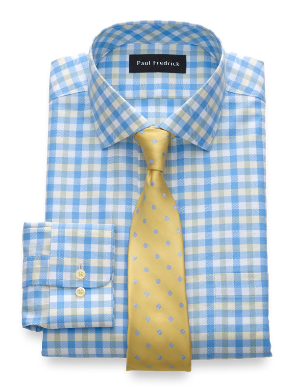 Slim Fit Impeccable Non-Iron Cotton Gingham Dress Shirt