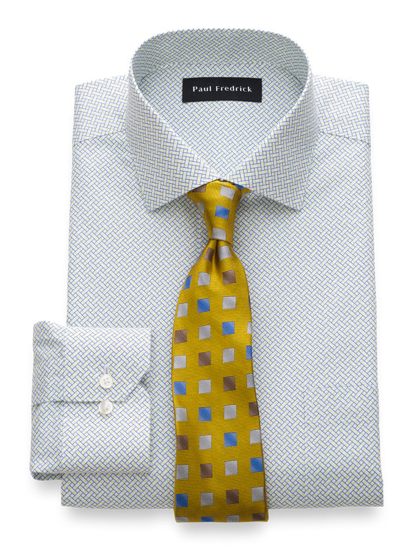 Slim Fit Non-Iron Cotton Geometric Print Dress Shirt