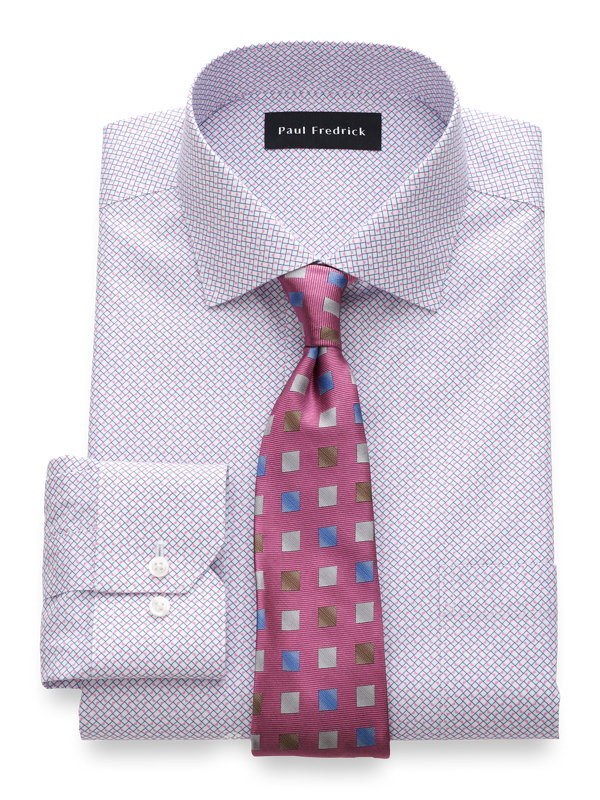 Tailored Fit Non-Iron Cotton Geometric Print Dress Shirt