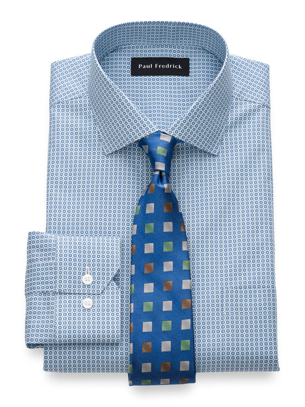 Non-Iron Cotton Geometric Print Dress Shirt