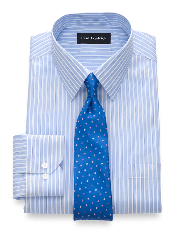Tailored Fit Non-Iron Cotton Space Dye Stripe Dress Shirt