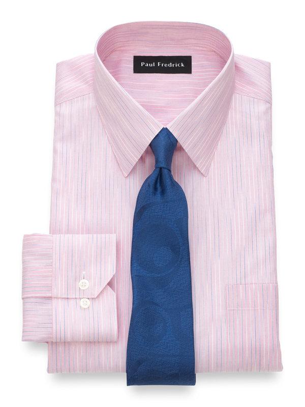 Non-Iron Cotton Space Dye Stripe Dress Shirt