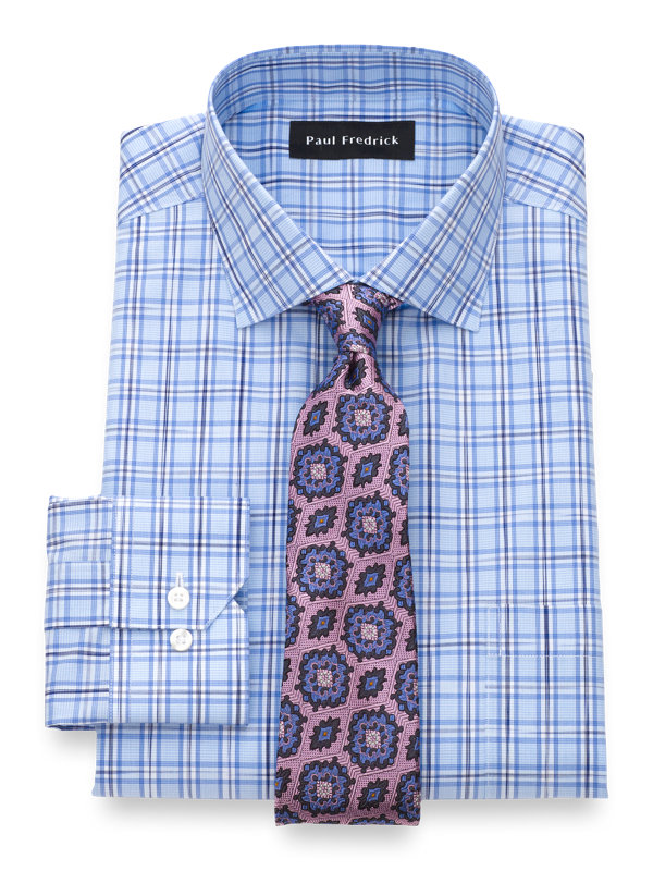 Tailored Fit Non-Iron Cotton Sace Dye Check Dress Shirt