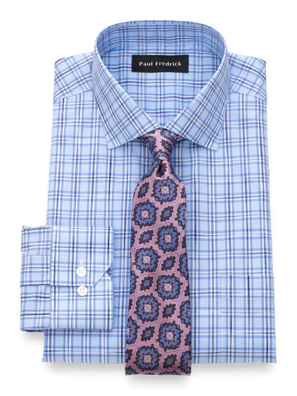 Slim Fit Non-Iron Cotton Space Dye Check Dress Shirt