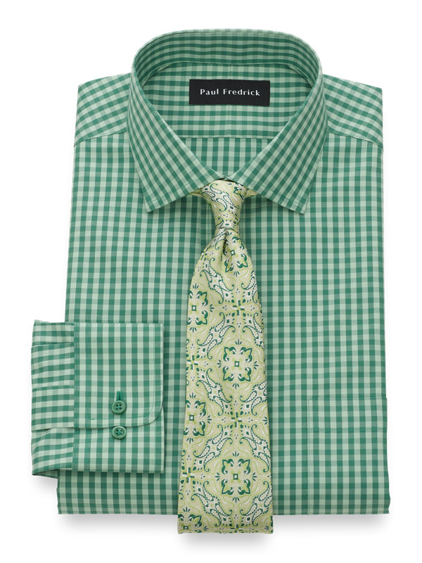 Non-Iron Cotton Gingham Dress Shirt