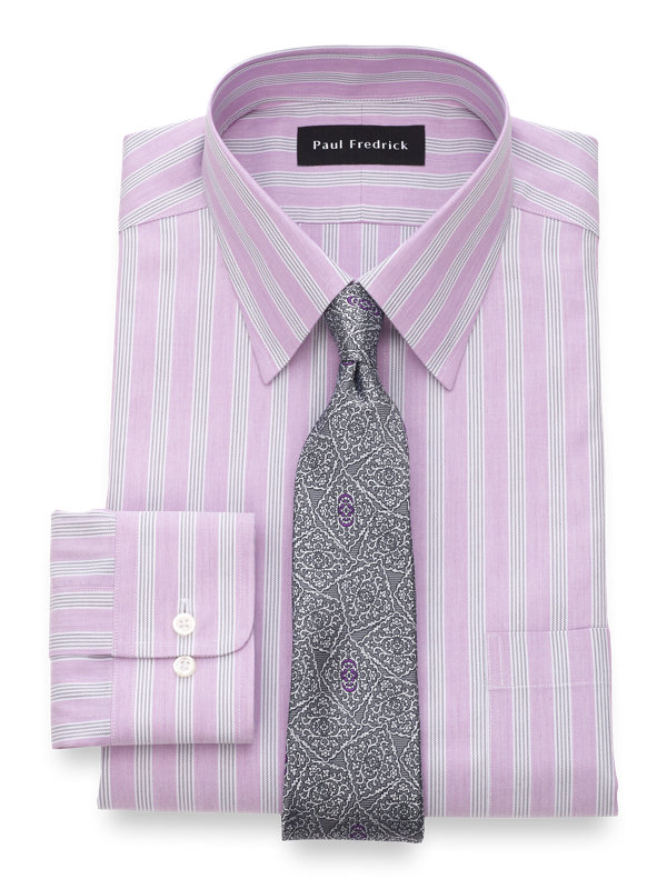 Tailored Fit Non-Iron Cotton Twill Stripe Dress Shirt