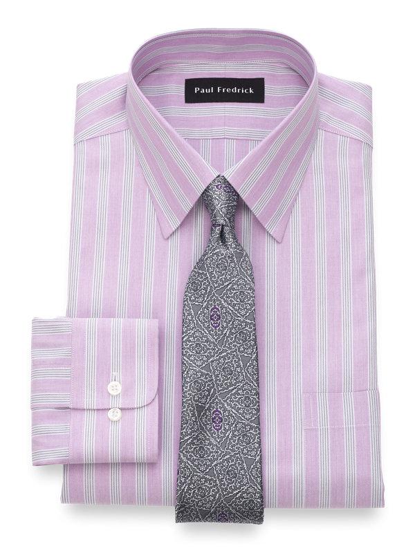 Slim Fit Non-Iron Cotton Twill Stripe Dress Shirt