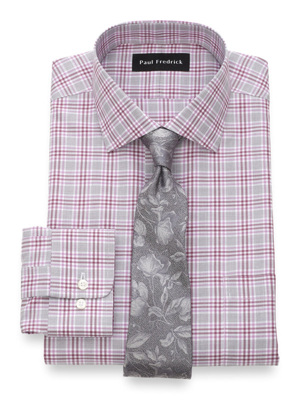 Tailored Fit Non-Iron Cotton Plaid Dress Shirt