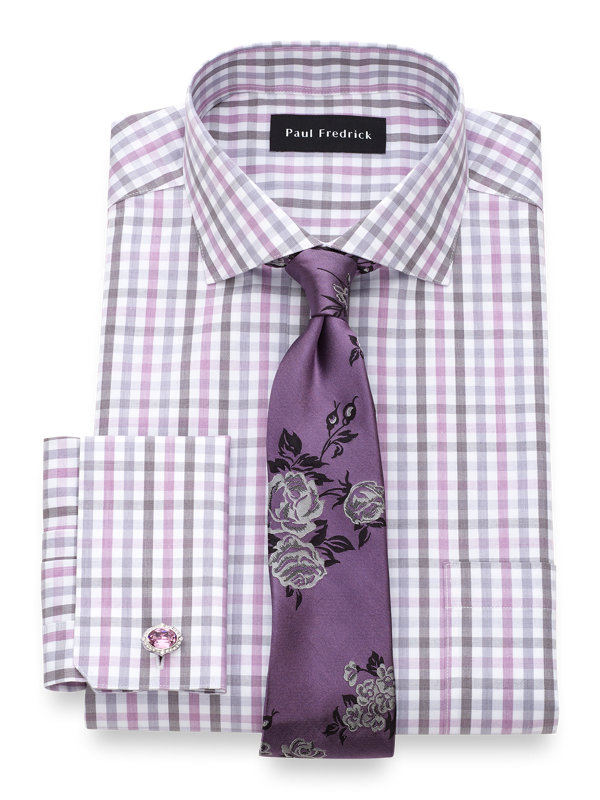 Tailored Fit Non-Iron Cotton Gingham Dress Shirt