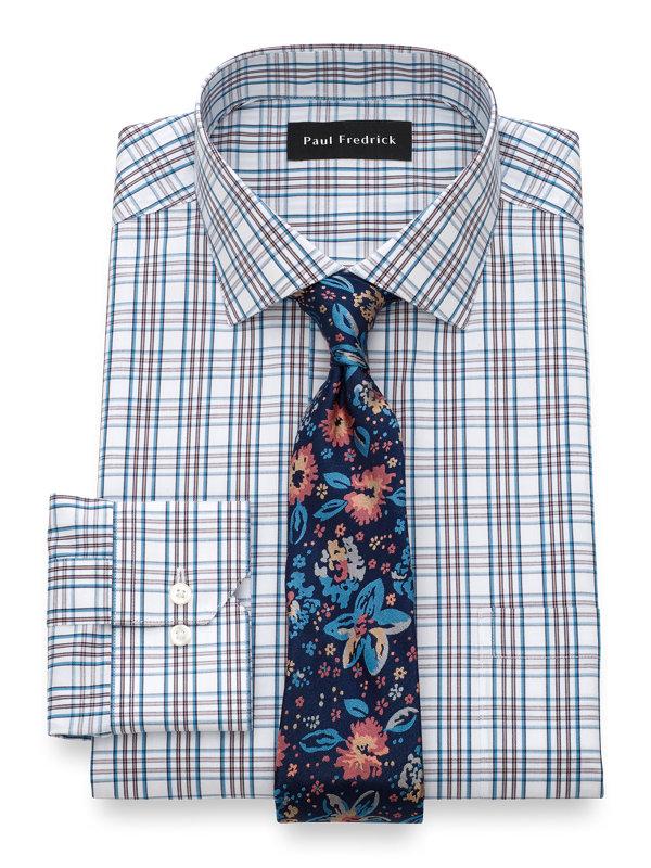 Tailored Fit Non-Iron Cotton Tattersall Dress Shirt