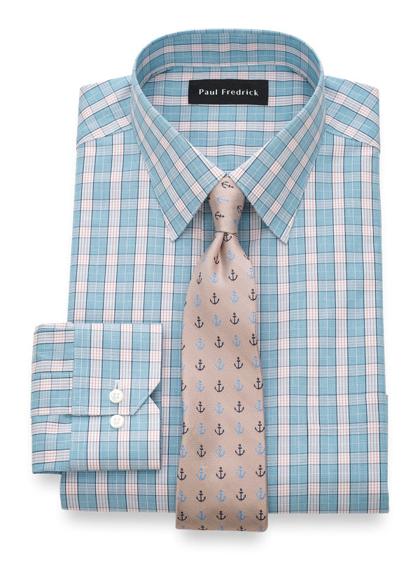 Tailored Fit Non-Iron Cotton Glend Plaid Dress Shirt