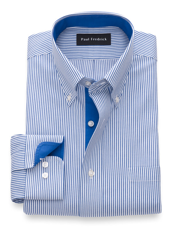 Non-Iron Cotton Textured Stripe Dress Shirt with Contrast Trim