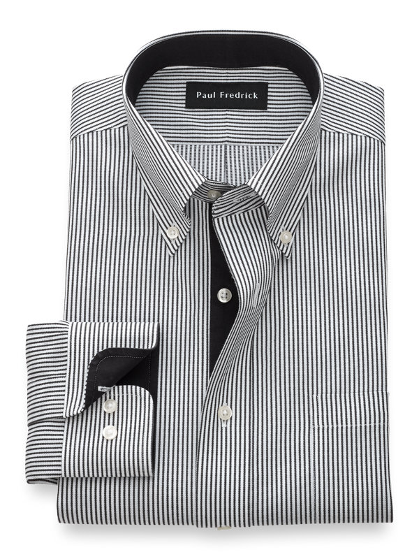 Tailored Fit Non-Iron Cotton Textured Strpe Dress Shirt with Contrast Trim