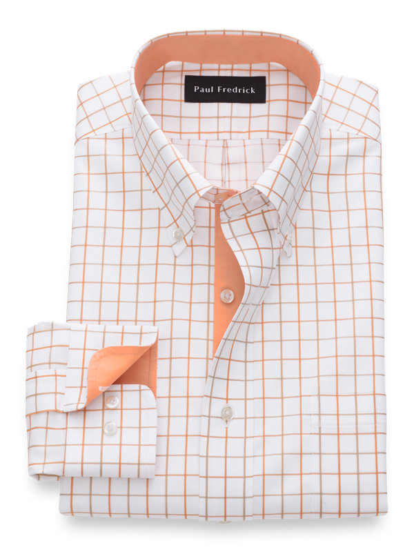 Non-Iron Cotton Satin Grid Dress Shirt with Contrast Trim