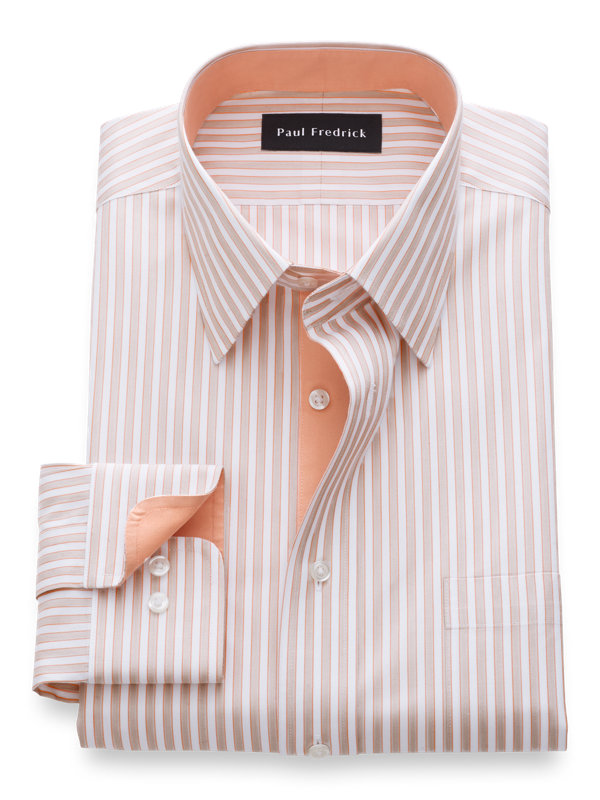 Non-Iron Cotton Framed Stripe Dress Shirt with Contrast Trim