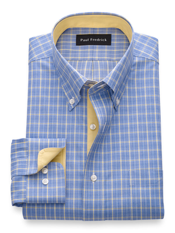 Slim Fit Non-Iron Cotton Plaid Dress Shirt with Contrast Trim