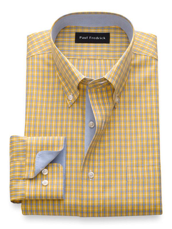 Non-Iron Cotton Grid Dress Shirt with Contrast Trim