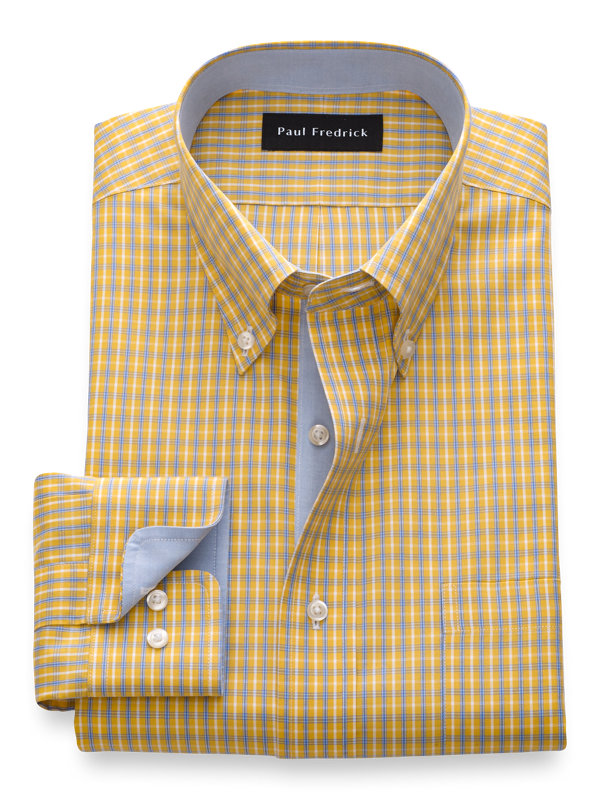 Tailored Fit Non-Iron Cotton Grid Dress Shirt with Contrast Trim