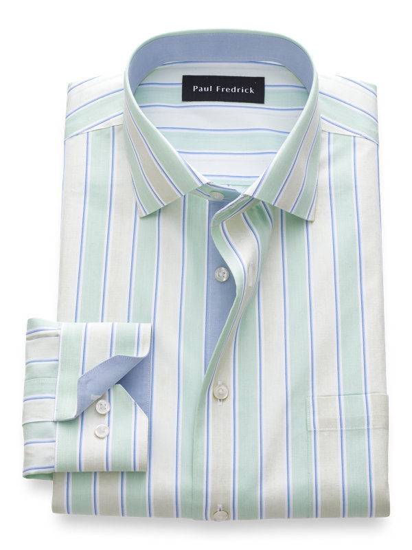 Tailored Fit Non-Iron Cotton Wide Stripe Dress Shirt with Contrast Trim