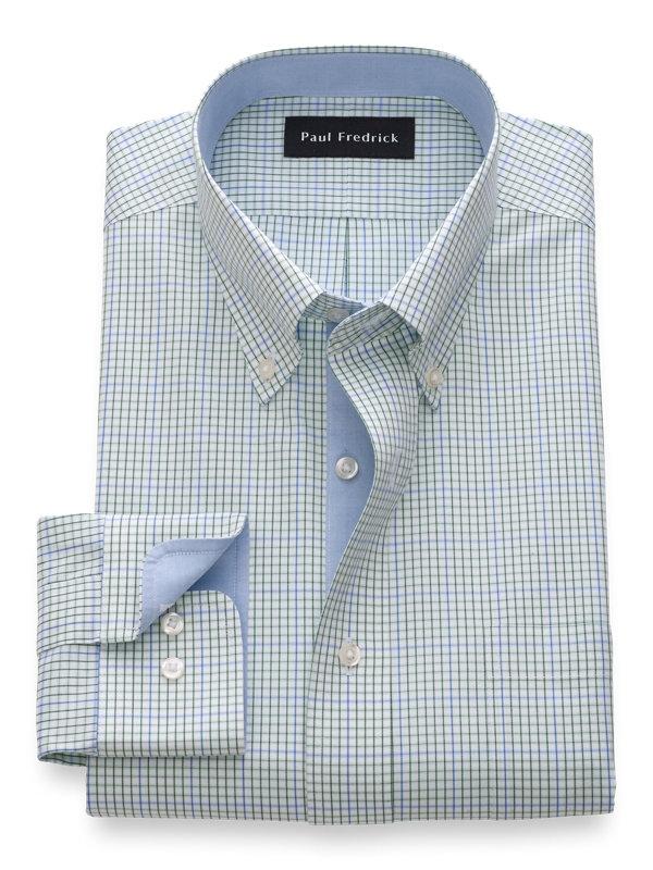 Slim Fit Non-Iron Cotton Mini Check Dress Shirt with Contrast Trim