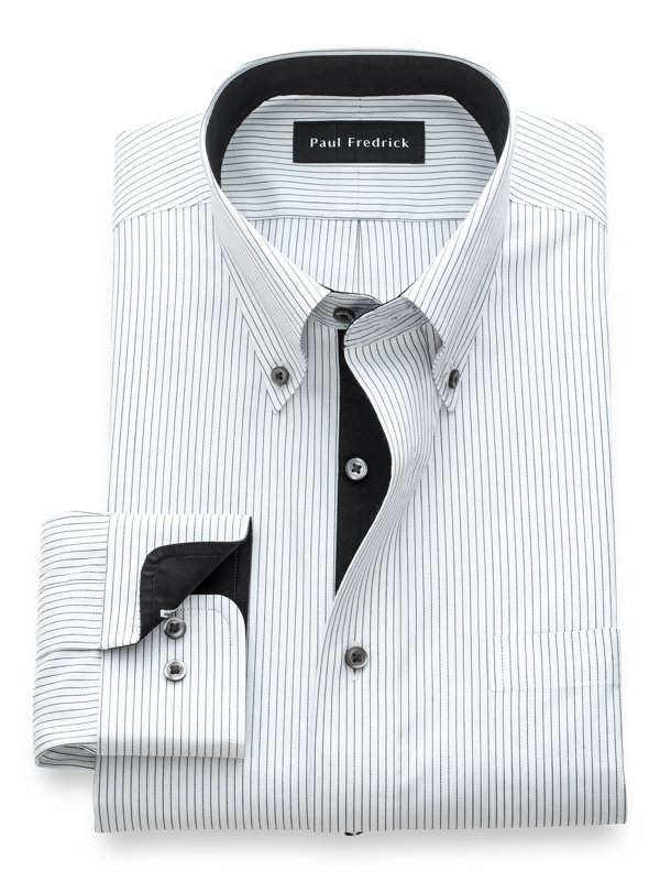 Non-Iron Cotton Fine Line Stripe Dress Shirt with Contrast Trim
