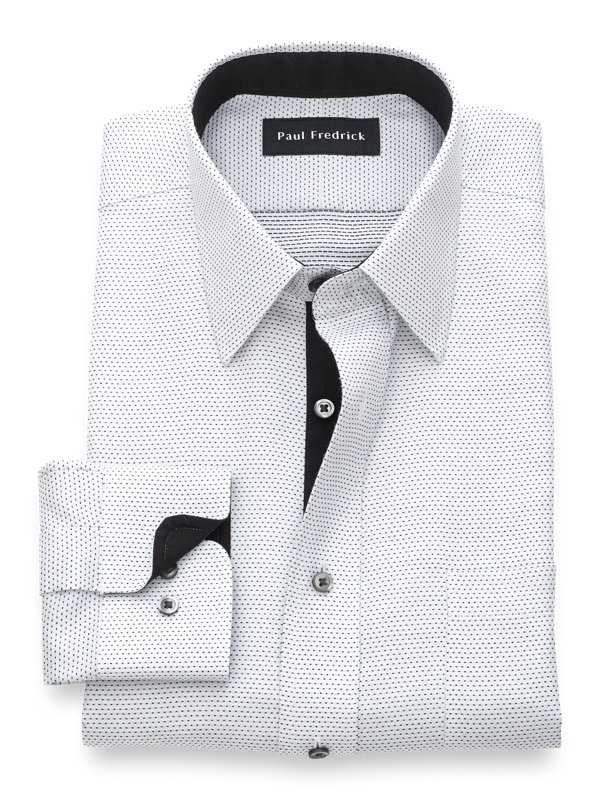Slim Fit Non-Iron Cotton Dot Pattern Dress Shirt with Contrast Trim