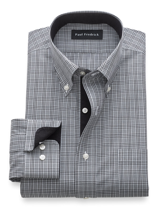 Non-Iron Cotton Plaid Dress Shirt with Contrast Trim