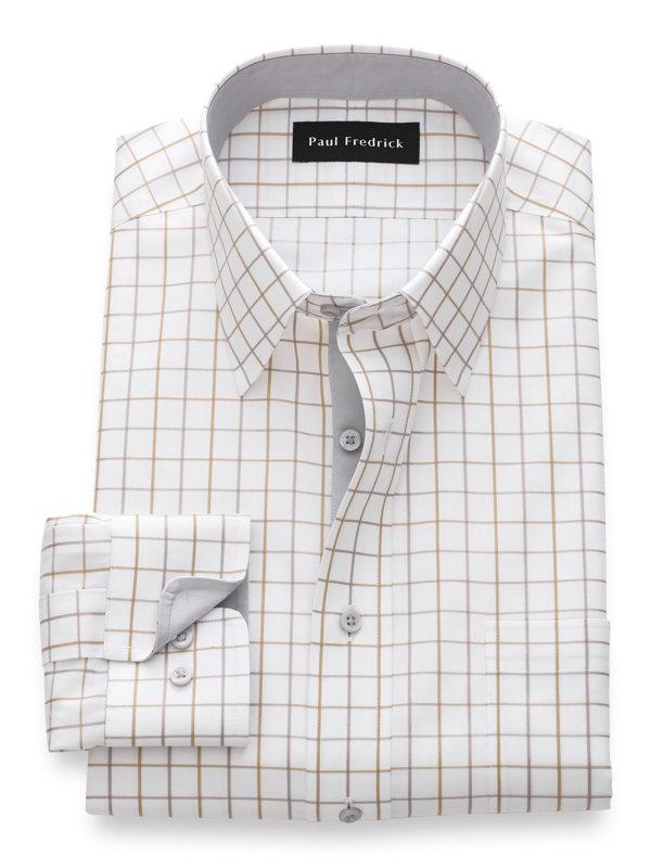 Non-Iron Cotton Satin Grid Dress Shirt with Contrast Trim