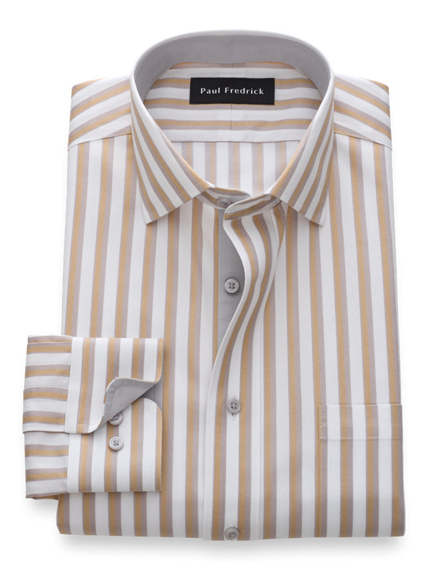 Tailored Fit Non-Iron Cotton Framed Stripe Dress Shirt with Contrast Trim