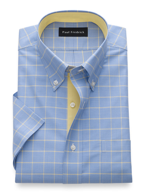 Slim Fit Non-Iron Cotton Plaid Short Sleeve Shirt with Contrast Trim