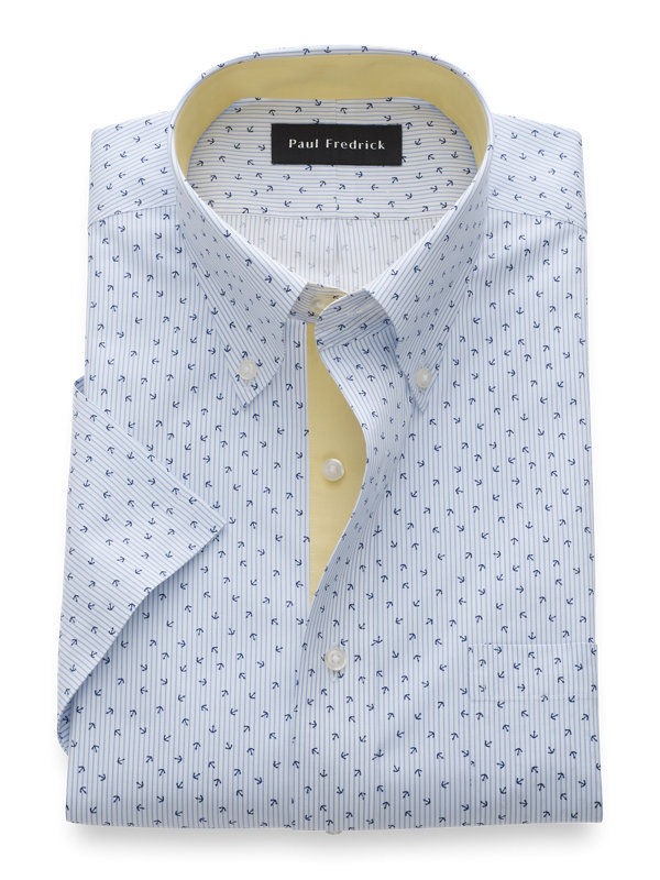 Slim Fit Non-Iron Cotton Print Short Sleeve Shirt with Contrast Trim