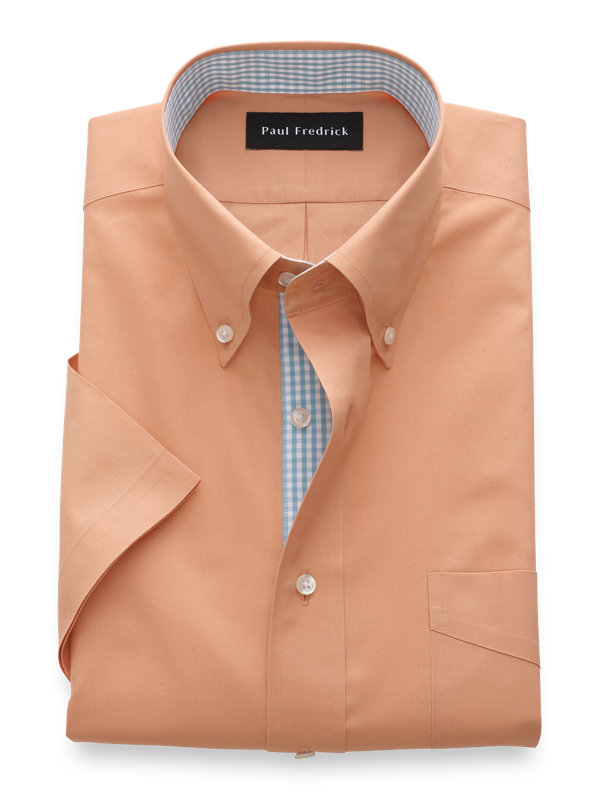 Non-Iron Cotton Solid Short Sleeve Shirt with Contrast Trim