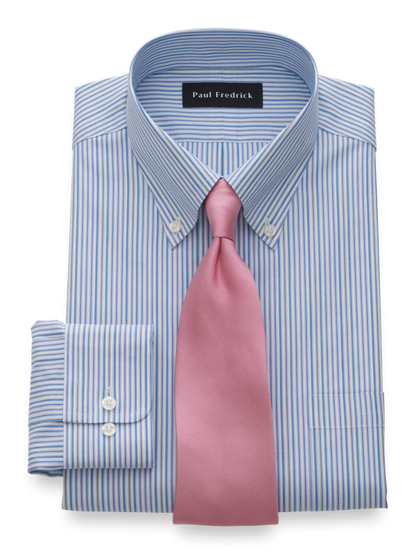 Tailored Fit Non-Iron Cotton Shadow Stripe Dress Shirt