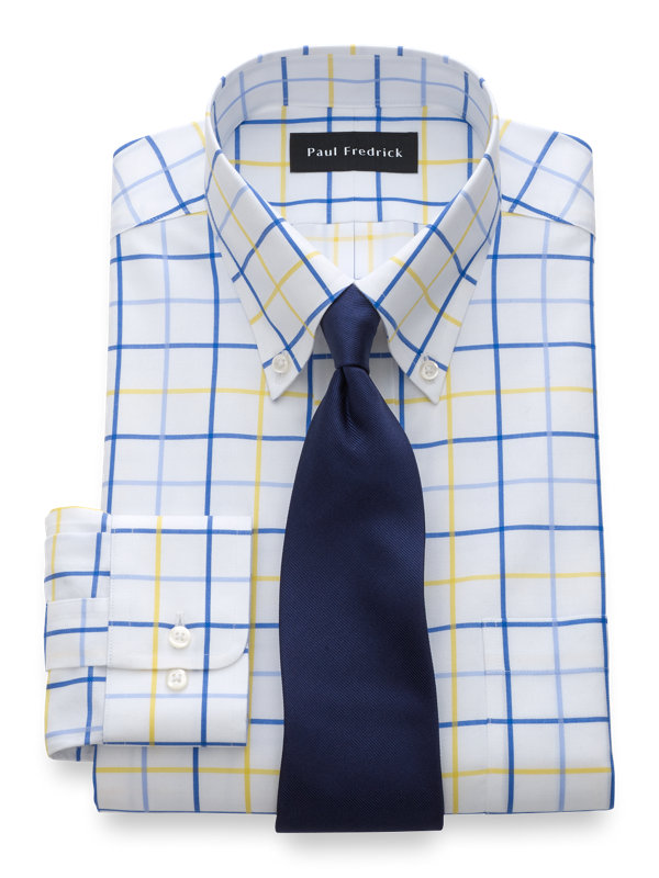 Slim Fit Non-Iron Cotton Tattersall Dress Shirt