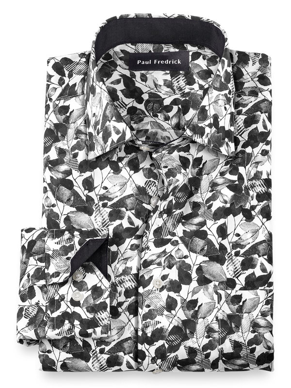 Tailored Fit Non-Iron Cotton Floral Print Dress Shirt with Contrast Trim