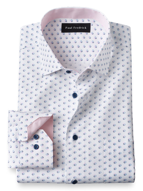 Tailored Fit Non-Iron Cotton Circle Print Dress Shirt with Contrast Trim